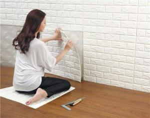 China 3D Brick Thicken Soft PE Foam Wall Sticker Panels Wallpaper Decor on sale