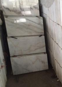 China Cloud Like Texture Polished Marble Floor Tiles , White Marble Flooring Plate Surface on sale