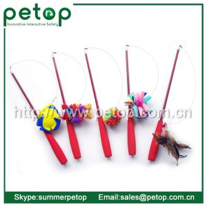 China Telescoping Fishing Rod Spin Feather Wand Cat Toys on sale