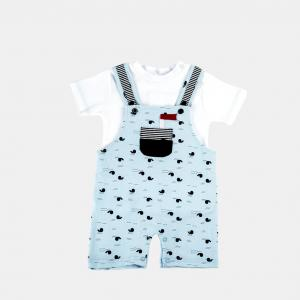 China baby blue  boy clothes set kid boy clothes soft cotton for toddler boy clothes overall set on sale