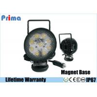 27W Round Portable LED Work Lights With Magnetic Base , Cigar Lighter Connector