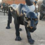 High Quality Geometric Fiberglass Black Dog Statue in Sculptures