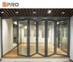 Aluminium Bi Fold Sliding Doors , Foldable Glass Doors ISO Certification
