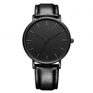 China Fashionable Quartz Mens Black Leather Watch 3 ATM Waterproof Black Plated on sale