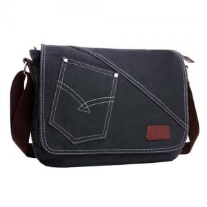 China Canvas PU Leisure Men Shoulder Messenger Bag Small Pocket Inside Comfortable on sale
