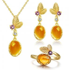 China Dangle Earrings Oval Citrine Jewelry Set 925 Sterling Silver Gemstone Pendant Necklace on sale