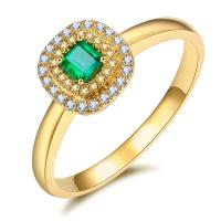 Real Yellow Gold Diamond Rings , Emerald Ring Surrounded By Diamonds