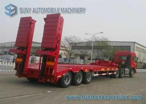 China 80 T Hydraulic Ladder 3 Axles Lowbed Semi Trailer , heavy duty flatbed trailer on sale