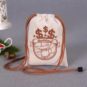 China Customized Size Cotton Canvas Drawstring Bag With Heat Transfer Printing on sale