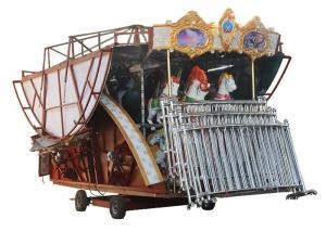 China Non Fading Color Carousel Horse Ride With Colorful Led Lamps For Night Operation on sale