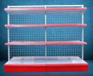 China Foldable Grid Back Store Wall Mounted Shelves Iron Storage Rack Single Face on sale