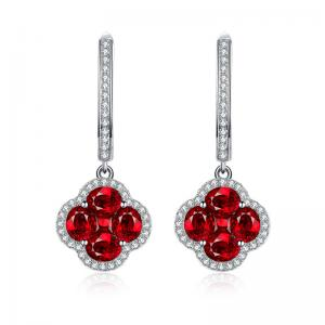 China Ruby Diamond Earrings White Gold Dangle Earrings With Flower Design on sale