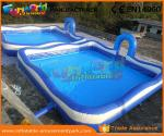 China Blue Color Giant Inflatable Water Pools With 680W Air Pump 3 Years Warranty wholesale