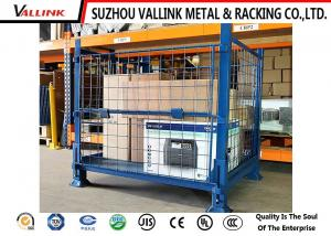 Half Drap Gate Wire Mesh Storage Containers Collapsible Cage Pallet