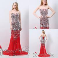 Sweetheart Tulle Red Evening Dress with Heavy Bling Crystal Sequins