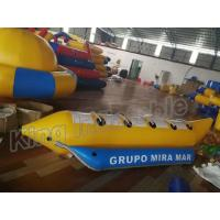 China Blue And Yellow Inflatable Fly Fishing Boats / Inflatable Banana Boat 4 Seats on sale