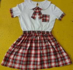 China 100% Cotton Checked Girls School Uniform Dresses , Summer Kids Uniform Dress on sale