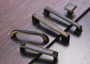 China Corosion Resistant Kitchen Cupboard Door Handles Black / Yellow Copper Finish on sale