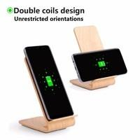 A8 Qi Fast Wireless Mobile Charger Stand Light Wood 10W 5mm Working Distance
