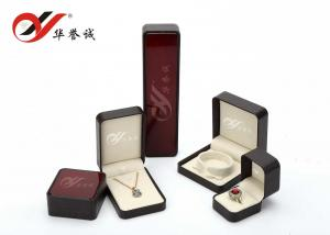 China Burgundy Plastic Jewellery Box Tear Resistant For Ring / Bracelet / Necklace on sale