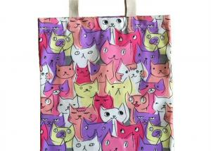 China Cute Cats Pattern Colorful Canvas Tote Bags Women Girls Perfect for Shopping , School , Outdoor on sale