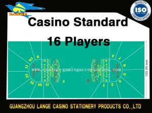 Quality 16 Player Space Baccarat Casino Poker Table Cloth Green Poker Table Top Felt for sale