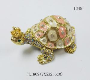 China Fashion Wholesale Metal Crystal turtle trinket box Metal crown turtle trinket box on sale