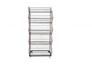 China Wire Metal Iron Steel Supermarket Display Shelf With KD Version 3-6 Layer on sale