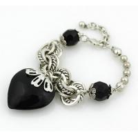 China iron ball with faceted beads and metal chain bracelet on sale