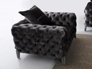 Quality Elegant Black Modern FabricSofas , Chesterfield Soft Furniture for sale