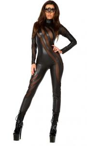 China Faux Leather Sexy Black Cat Costume with Size S to XXL Available on sale