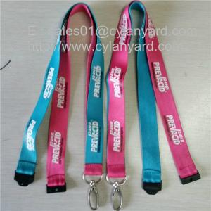 China Custom sublimation lanyards with metal loop hook and plastic breakaway clip, on sale