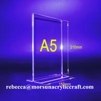 China T Frame Plexiglass Sign Hoder / Poster Holder Clear A5 Acrylic Menu Holder DOUBLE SIDED on sale