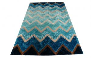 China Blue Polyester Contemporary Shaggy Rug, Hand-tufted Floor Area Rugs OEM on sale