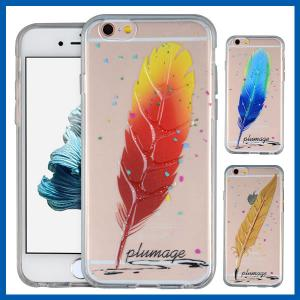 China Feather Print Bling Iphone 6 Protective Cases Crystal Clear Gel Rubber Skin on sale