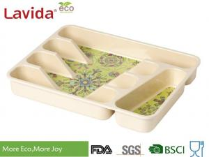 China Dishwasher Safe Eco Bamboo Fiber Tray Plant Fibre Flatware tray Kitchen Tool case Melamine Utensil Box for home on sale