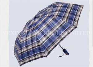 China Fabric Folding Uv Protection Umbrella , Ladies Telescopic Umbrellas Blue Checks Patterns on sale