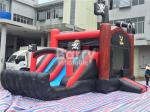 Pirate Ship Bounce Round Inflatable Combo Slide , Inflatable Bouncers For Kids Party