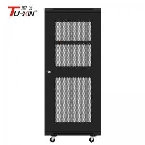 China 19 Inch 27u Computer Server Rack Enclosure Cabinet SPCC Cold Rolled Steel With Mesh Door on sale