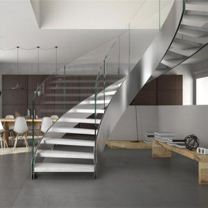 China Modern Design Interior Curved Staircase With Tempered Glass Railing on sale