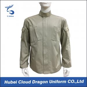 China Beige Twill Long Sleeve Work Shirts / Mens Military Shirt With Many Pockets , CNAS Approved on sale