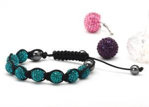 China Unique design Fimo beaded jewelry blue zircon shamballa bead bracelets for men NP10013-229 on sale