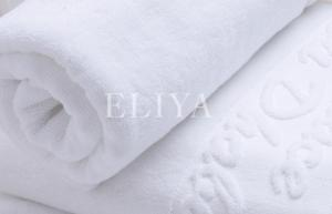 China High Durability 5 Star Hotel Bath Towels Sets with White Pakistan Yarn Jacquard Weave on sale