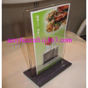China Hot Sell Table Top Acrylic Menu Holder / Acrylic Menu Stand / Lucite Table Tent on sale