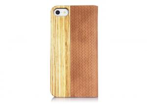 China Handmade Waterproof Flip Iphone 5S Folio Case With Stand , Zebra Wood and Real Leather on sale