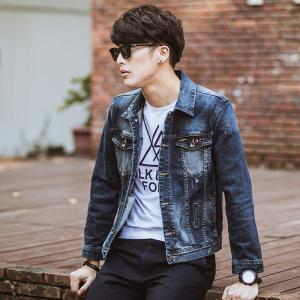 China Classic Retro Tailoring Mens Down Jean Jackets , 100 Cotton Mens Motorcycle Jackets on sale