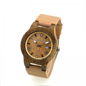 China Womens Wooden Watch With Leather Band / Ladies Wrist Watches With Wooden Watch Case on sale