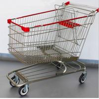 China Steel Grocery Carts On Wheels American Style Chromed Metal Shopping Baskets on sale