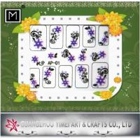 China Purple and Black Flower Art 2D Finger Nail Sticker, Decals For DIY Nail Decoration on sale