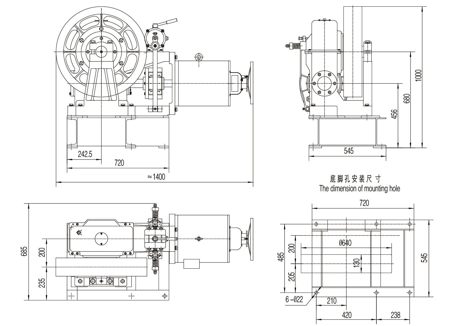 Elevator geared traction machine
